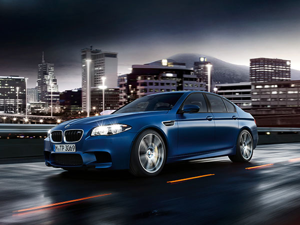 Blue BMW M5 Saloon, a luxury sports car