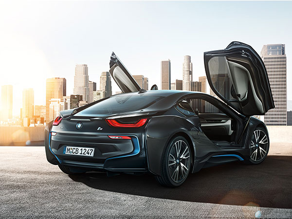 The Hybrid BMW i8 has spectacular scissor doors