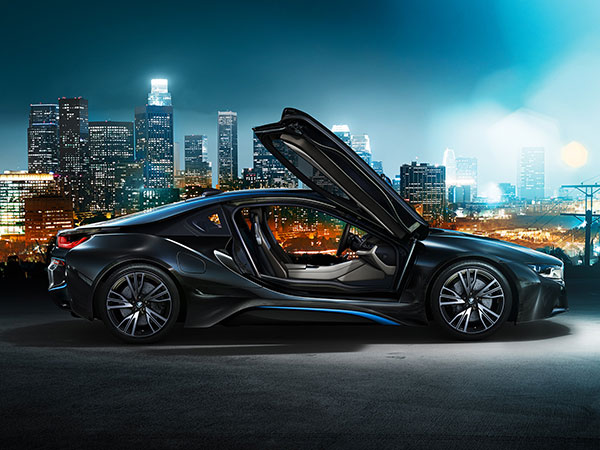 The BMW i8 is a sports car with a beautiful design