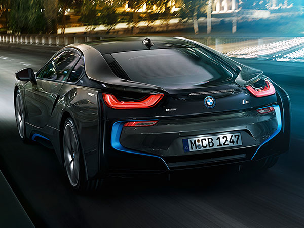 The BMW i8 is a low and wide sports car