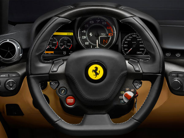 Ferrari's leather steering wheel